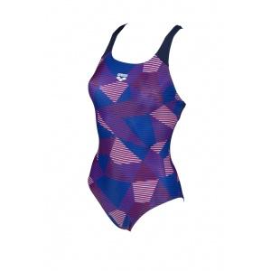 Arena damesbadpak Striped Geo Swim pro back navy-red-multi