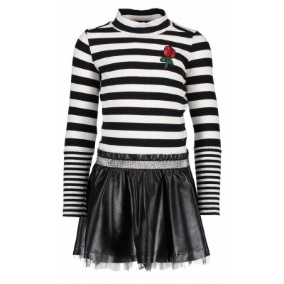 B-nosy dress rib stripe top and fake leather skirt