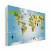 Afbeelding van Wereldkaart Onze Bewoners Prent - Horizontale planken hout 90x60