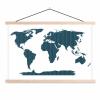 Afbeelding van Wereldkaart Kruisjespatroon Blauw - Schoolplaat 90x60