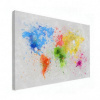 Afbeelding van Wereldkaart Atristiek Gekleurde Verfspatters - Canvas 120x80