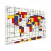 Afbeelding van Wereldkaart Mondriaan - Houten plaat 40x30