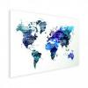 Afbeelding van Wereldkaart Artistiek Nachtkleuren - Houten plaat 40x30