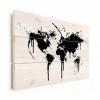Afbeelding van Wereldkaart Artistieke Spots - Verticale planken hout 90x60