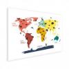 Afbeelding van Wereldkaart Dieren Per Continent Kleuren - Houten plaat 40x30