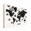 Afbeelding van Wereldkaart Zwart Gebiednamen - Verticale planken hout 40x30