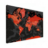Wereldkaart Rood Land Zwart Water Apocalypse