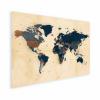 Afbeelding van Wereldkaart Landen Donkere Tinten - Houten plaat 80x60