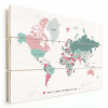 Afbeelding van Wereldkaart I Want To Travel The World With You - Horizontale planken hout 40x30
