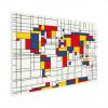 Afbeelding van Wereldkaart Mondriaan - Poster 40x30