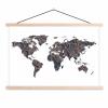 Afbeelding van Wereldkaart Circelpatroon Diagonale Lijnen Paarstint - Schoolplaat 90x60