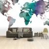 Afbeelding van Wereldkaart Geometrische Kleuren - Airtex behang 265x400