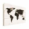 Afbeelding van Wereldkaart Geometrische Gouden Lijnen Zwart - Verticale planken hout 80x60