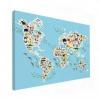 Afbeelding van Wereldkaart Dieren Van De Wereld - Canvas 120x80