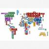 Afbeelding van Wereldkaart Continenten In Tekst Kleur - Houten plaat 80x60