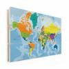 Afbeelding van Wereldkaart Aardrijkskundig Harde Kleuren - Horizontale planken hout 120x80