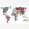 Afbeelding van Wereldkaart Continenten In Tekst Kleur - Poster 120x80