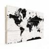 Afbeelding van Wereldkaart Zwart Aardrijkskundig - Verticale planken hout 120x80