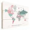 Afbeelding van Wereldkaart I Want To Travel The World With You - Verticale planken hout 40x30
