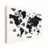 Afbeelding van Wereldkaart Zwart Gebiednamen - Horizontale planken hout 80x60