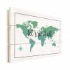 Afbeelding van Wereldkaart Let's See It All Groen - Verticale planken hout 120x80