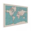 Afbeelding van Wereldkaart Aardrijkskundig Rode Grenzen - Houten plaat 120x80