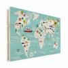 Afbeelding van Wereldkaart Prent Vervoersmiddelen - Verticale planken hout 40x30