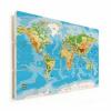 Afbeelding van Wereldkaart Klassiek - Horizontale planken hout 120x80