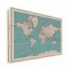 Afbeelding van Wereldkaart Aardrijkskundig Rode Grenzen - Verticale planken hout 90x60