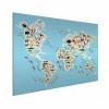 Afbeelding van Wereldkaart Dieren Van De Wereld - Wit aluminium 120x90