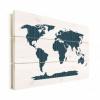 Afbeelding van Wereldkaart Kruisjespatroon Blauw - Horizontale planken hout 120x80