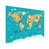 Afbeelding van Wereldkaart Leerzaam En Leuk - Poster 150x100
