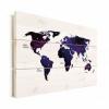 Afbeelding van Wereldkaart Stars And Continents Paarstint - Horizontale planken hout 90x60