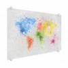 Afbeelding van Wereldkaart Atristiek Gekleurde Verfspatters - Plexiglas 100x50