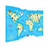 Afbeelding van Wereldkaart Vrolijke Dieren Van De Wereld - Houten plaat 60x40