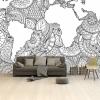 Afbeelding van Wereldkaart Circelpatroon Zee Zwart - Airtex behang 265x400