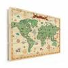 Afbeelding van Wereldkaart Van Vroeger - Horizontale planken hout 80x60