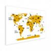 Afbeelding van Wereldkaart Dieren Per Continent Geel - Houten plaat 120x80