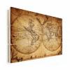 Afbeelding van Wereldkaart The World Perkament - Horizontale planken hout 80x60