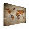 Afbeelding van Wereldkaart Vintage Kleuren - Horizontale planken hout 90x60