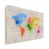 Afbeelding van Wereldkaart Atristiek Gekleurde Verfspatters - Verticale planken hout 90x60