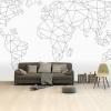 Afbeelding van Wereldkaart Geometrische Lijnen - Vinylbehang 265x400