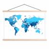 Afbeelding van Wereldkaart Blauwtinten - Schoolplaat 60x40