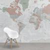 Afbeelding van Wereldkaart Aardrijkskundig Lichte Tinten - Airtex behang 265x350