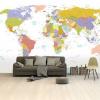 Afbeelding van Wereldkaart Alle Landen - Pastel - Airtex behang 265x350