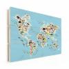 Afbeelding van Wereldkaart Dieren Van De Wereld - Verticale planken hout 80x60