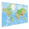 Afbeelding van Wereldkaart Aardrijkskundig Origineel - Houten plaat 120x80