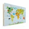 Afbeelding van Wereldkaart Voor Kinderen - Verticale planken hout 90x60