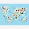 Afbeelding van Wereldkaart Dieren Van De Wereld - Houten plaat 40x30