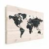 Afbeelding van Wereldkaart Circelpatroon Diagonale Lijnen Blauwtint - Verticale planken hout 90x60